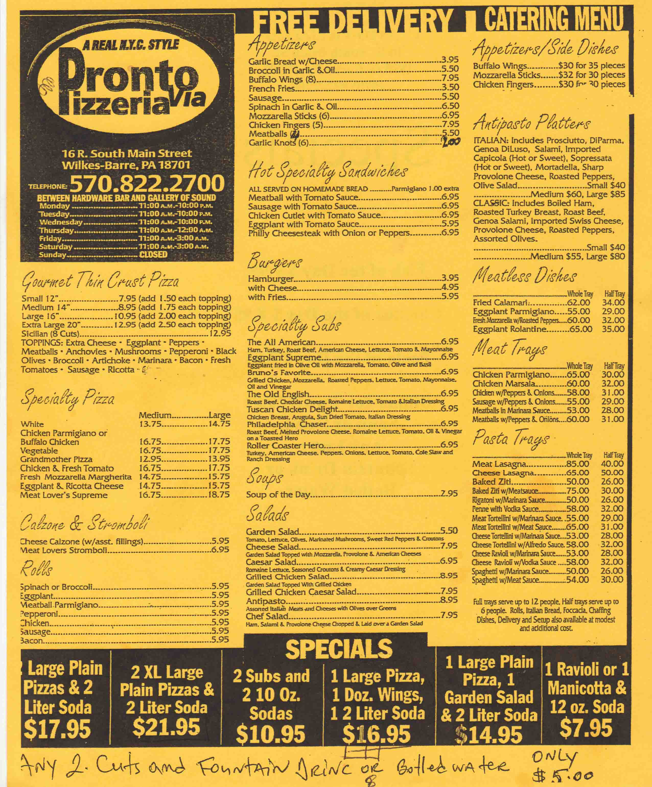pronto pizzeria wilkes barre pa menu