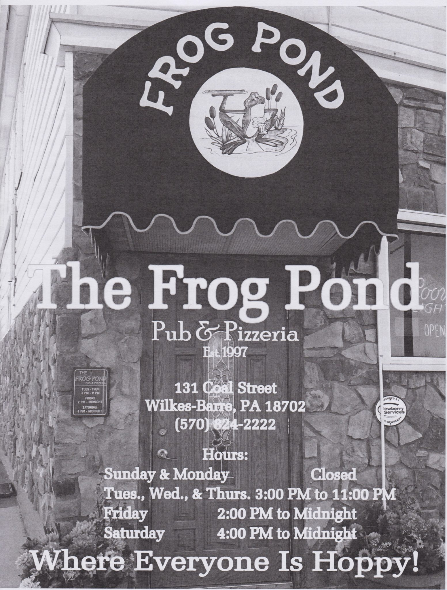 frog pond pub and pizza menu wilkes barre