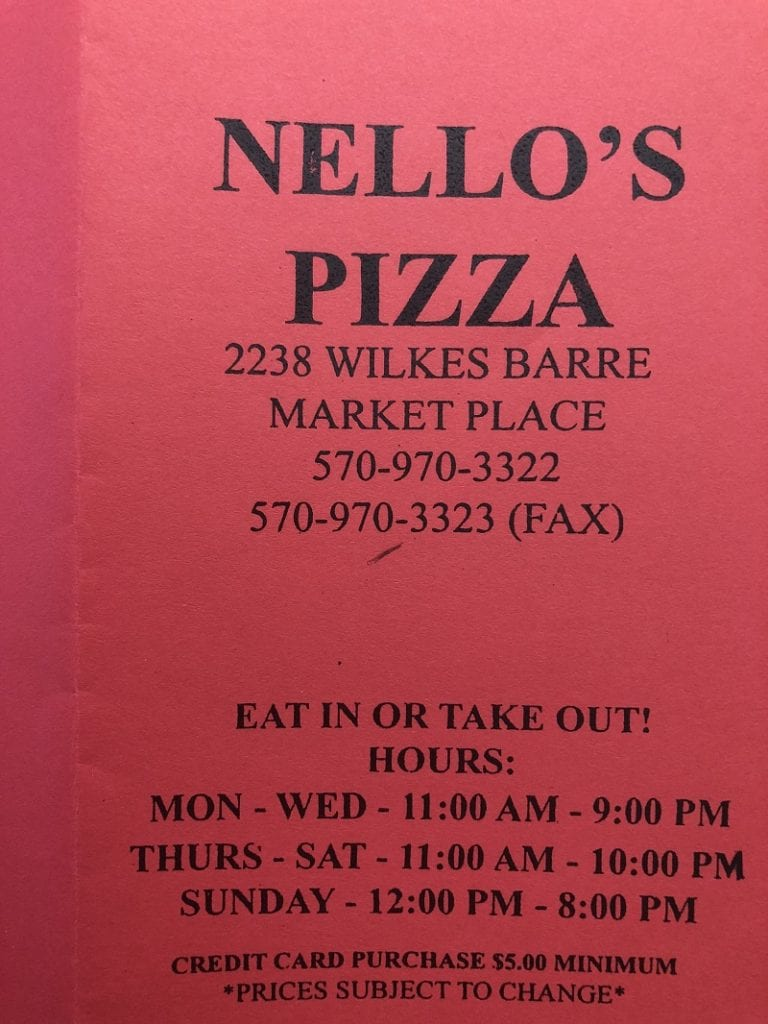 nellos pizza wilkes barre pa menu hours of operations